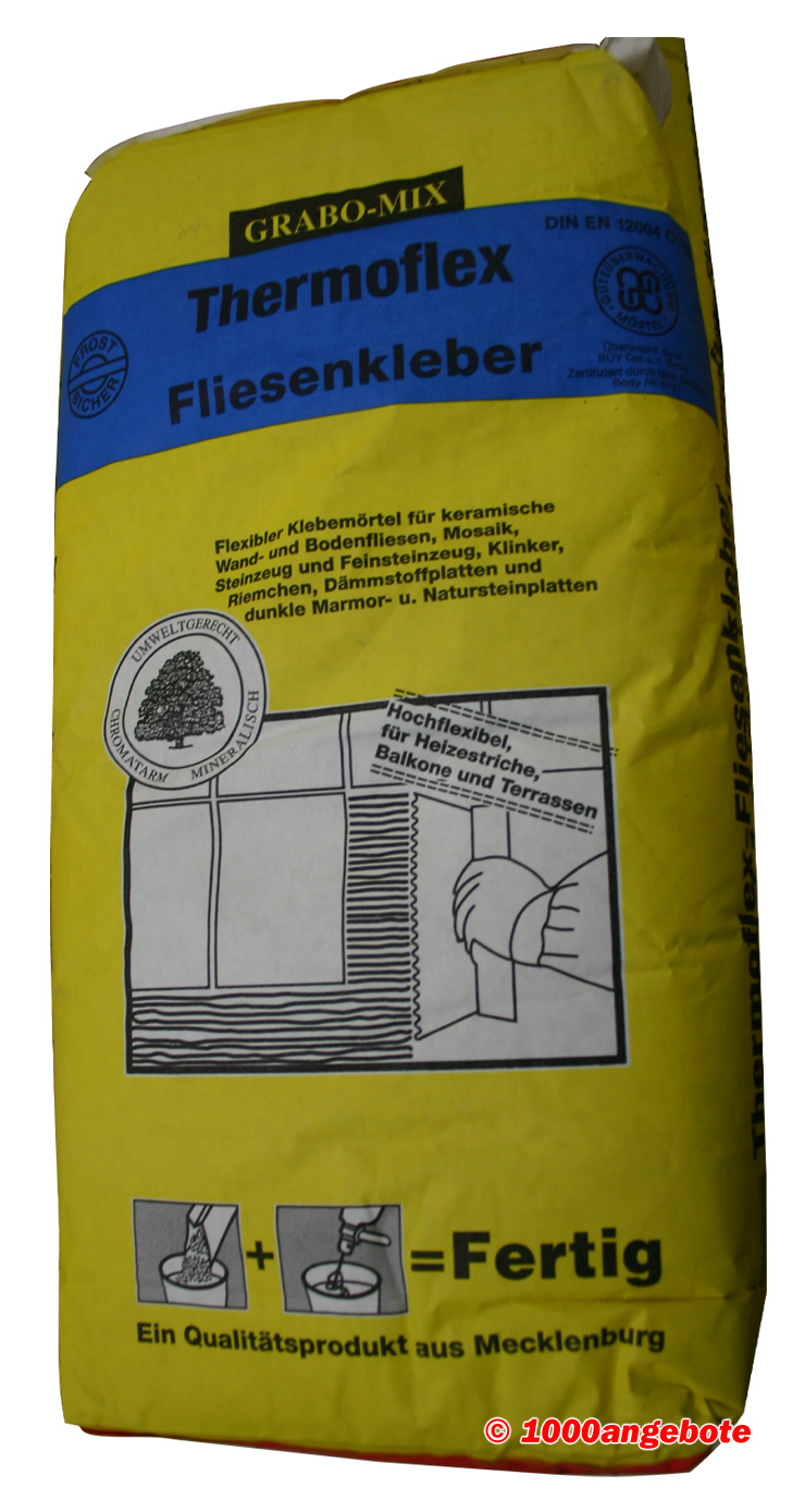 flex fliesenkleber 25 kg sack innen aussen flexkleber frostsicher baukleber ebay. Black Bedroom Furniture Sets. Home Design Ideas